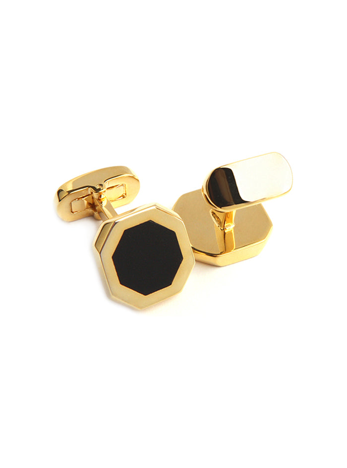 ONYX HEXAGONAL CUFFLINKS