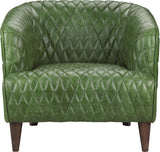 PURVIS TUFTED LEATHER ARM CHAIR EMERALD