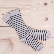 Cotton Breton Stripe Sock - Linen/Navy