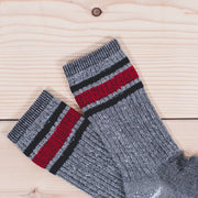 Merino Activity Sock - Grey with Navy/Red