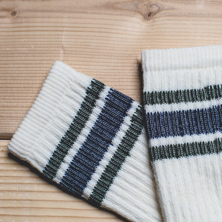 Merino Activity Sock - White with Navy/Green