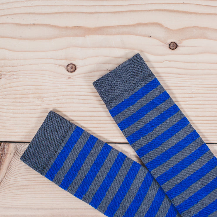Silver Rugby Sock - Grey/Royal