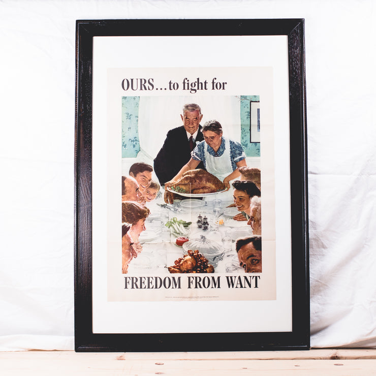 "Framed Original Norman Rockwell ""Freedom from Want"" War Department Poster - circa 1943"