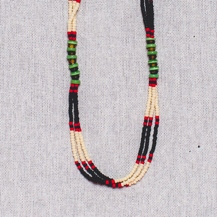 Montagnard Necklace - Black/Cream/Red/Jade