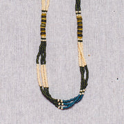 Montagnard Necklace - Green/Cream/Blue/Tiger's Eye