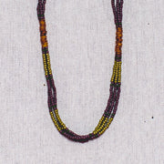 Montagnard Necklace - Olive/Purple/Amber