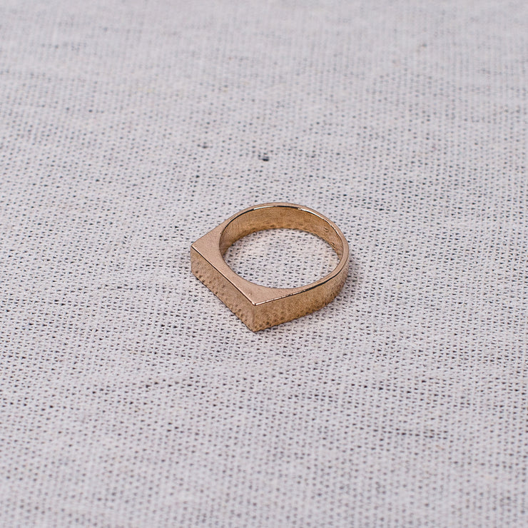 Signet Bar Ring in Gold Bronze