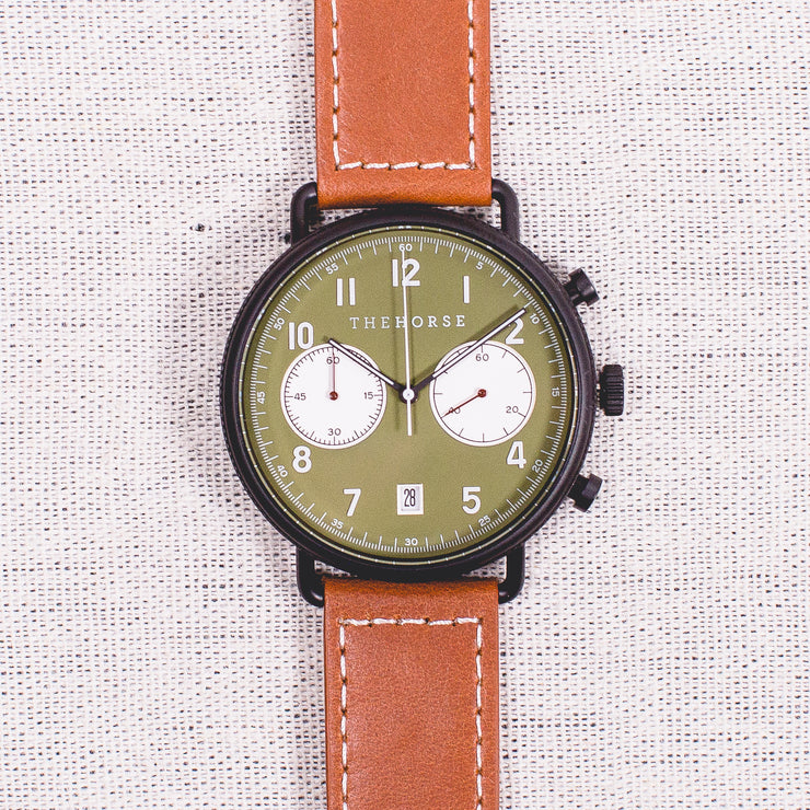 The Time Writer - Matte Black/Khaki/Tan Leather