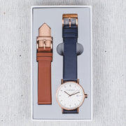 D Series - Navy/Tan/ Brushed Rose Gold Box Set