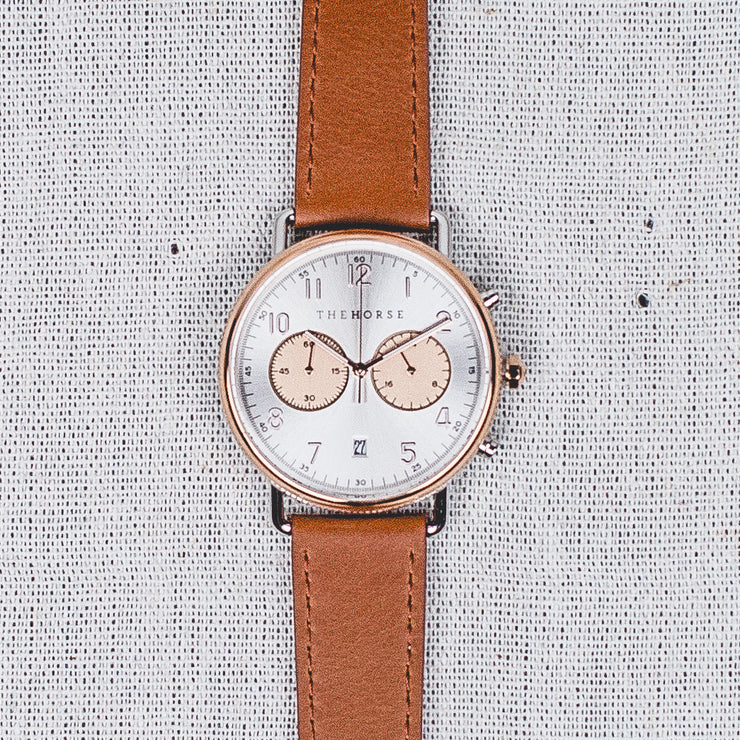 The Mini Chronograph - Rose Gold+Silver/Tan Leather