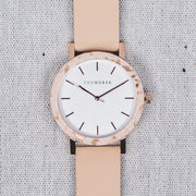 The Resin - Peach Speckle/White Dial/Vegetable Tan Leather