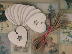 Wooden Shapes - Hearts with Stars. Only at Elliemapgie.
