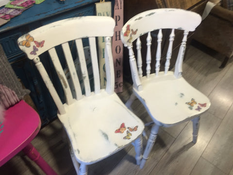 Butterfly Decoupaged Vintage Chairs
