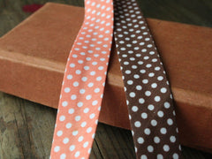 18mm Spot Bias Binding | Chocolate and Coral