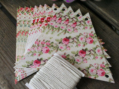 Vintage Floral Card Bunting Kit. Available at Elliemagpie.