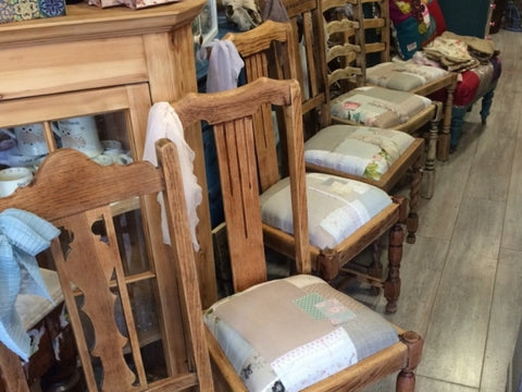Stripped, Sanded and Waxed Shabby Patchwork Dining Chairs