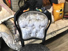 Black Silver Rococo Dining Chairs