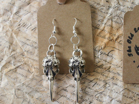 Silver Crow Skull Earrings