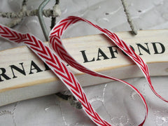 Red and White Chevron Christmas Ribbon