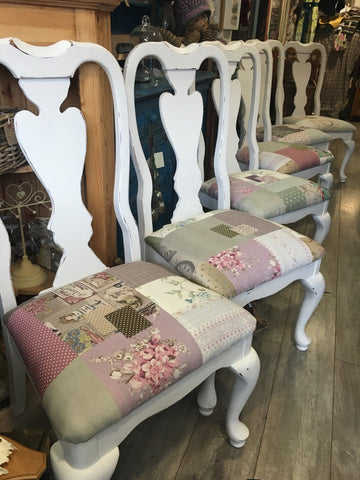 White Shabby Patchwork Chairs