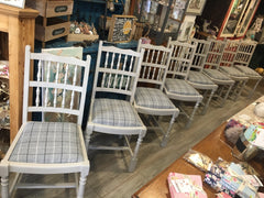 Grey Tartan Country Dining Chairs