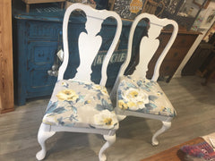 White Watercolour Floral Chairs