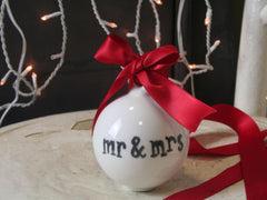 Hand Drawn Ceramic Bauble - Mr and Mrs