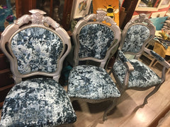 Blue Rococo Dining Chairs