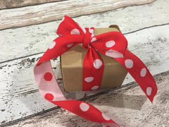 Double Sided Red and White Spot Ribbon