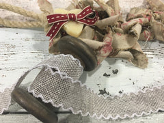 Silver Scallop Edge Hessian Ribbon