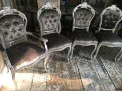 Silver Rococo Dining Chairs