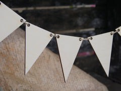 Wooden shapes. Flags, pennants, bunting.