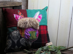 Red Highland Cow Patchwork Cushion