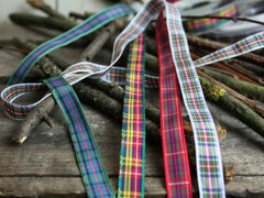 Thin Tartan Ribbon, 4 Colours