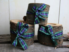 Cherry Wood Log Tealight Candle - Tartan
