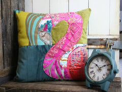 Flamingo Patchwork Cushion