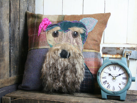 Bearded Schnauzer Patchwork Cushion - Earthy Tones