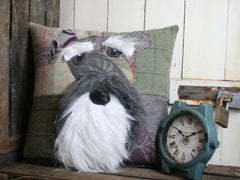 Bearded Schnauzer Patchwork Cushion - Pastels
