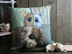 Irish Terrier Patchwork Cushion