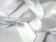 15mm White Satin Bows