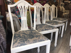 Dining Chairs, White Paint and Peacock Fabric