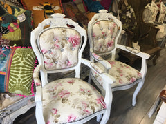 Pair Floral Shabby Rococo Dining Chairs