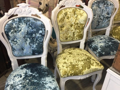 Citrus and Turquoise Rococo Dining Chairs