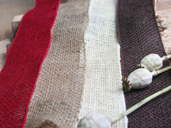 May Arts Wired Hessian Burlap Ribbon - Red, Natural, Cream, Brown