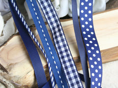 Selection of Navy ribbons at Elliemagpie.