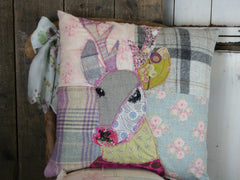 Pastel Stag Patchwork Cushion