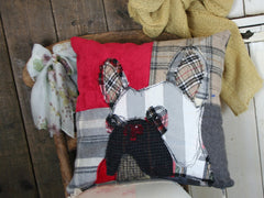French Bulldog Patchwork Cushion - Reds