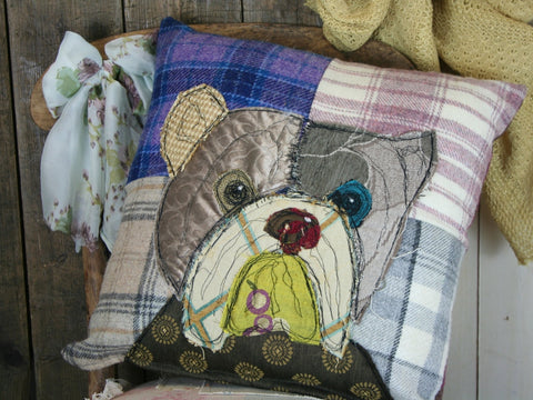 Bulldog Patchwork Cushion