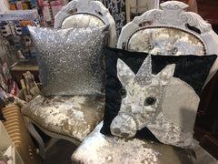 Black Velvet Unicorn Patchwork Cushion