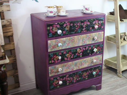 Decoupage 5 Drawer Chest of Drawers